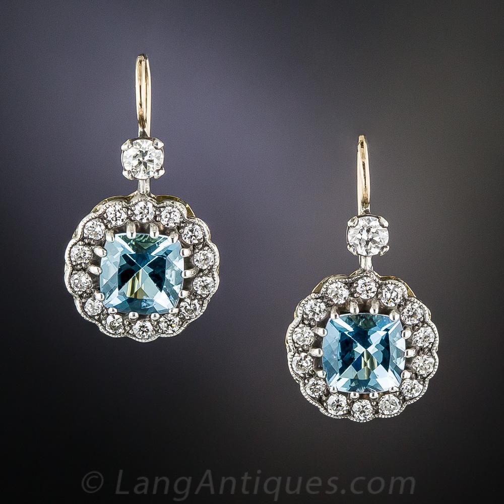 Vintage Style Aquamarine And Diamond Earrings