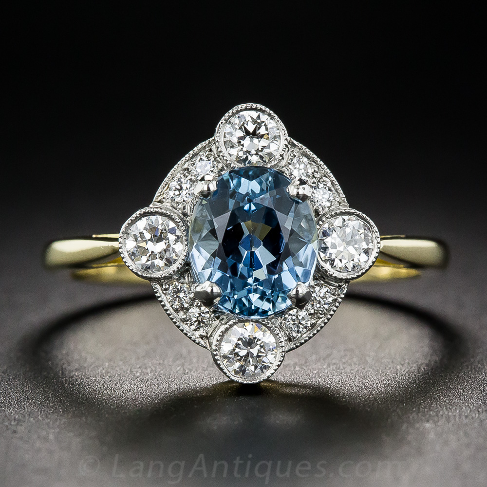 Vintage Style Aquamarine And Diamond Ring