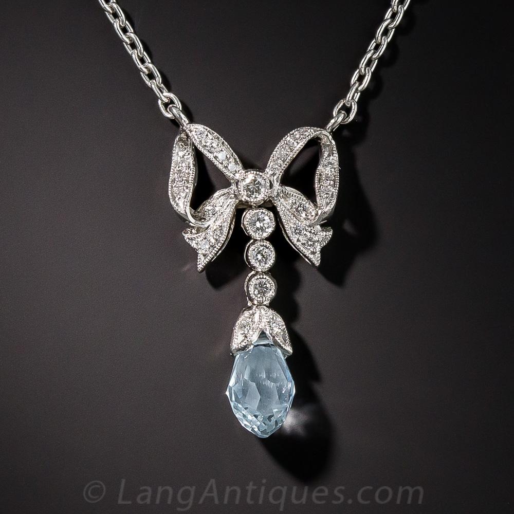 Vintage Style Aquamarine Platinum And Diamond Pendant