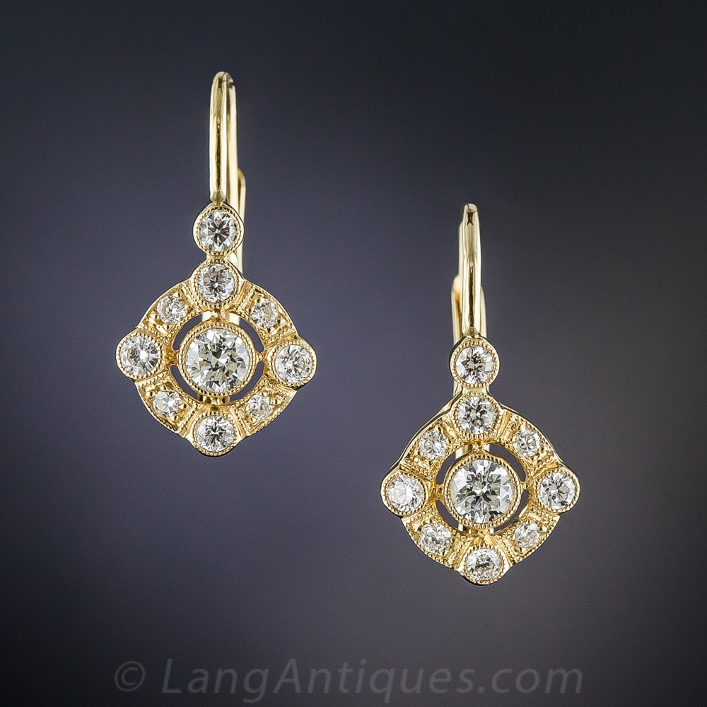 Vintage Style Diamond Earrings - Vintage Jewelry