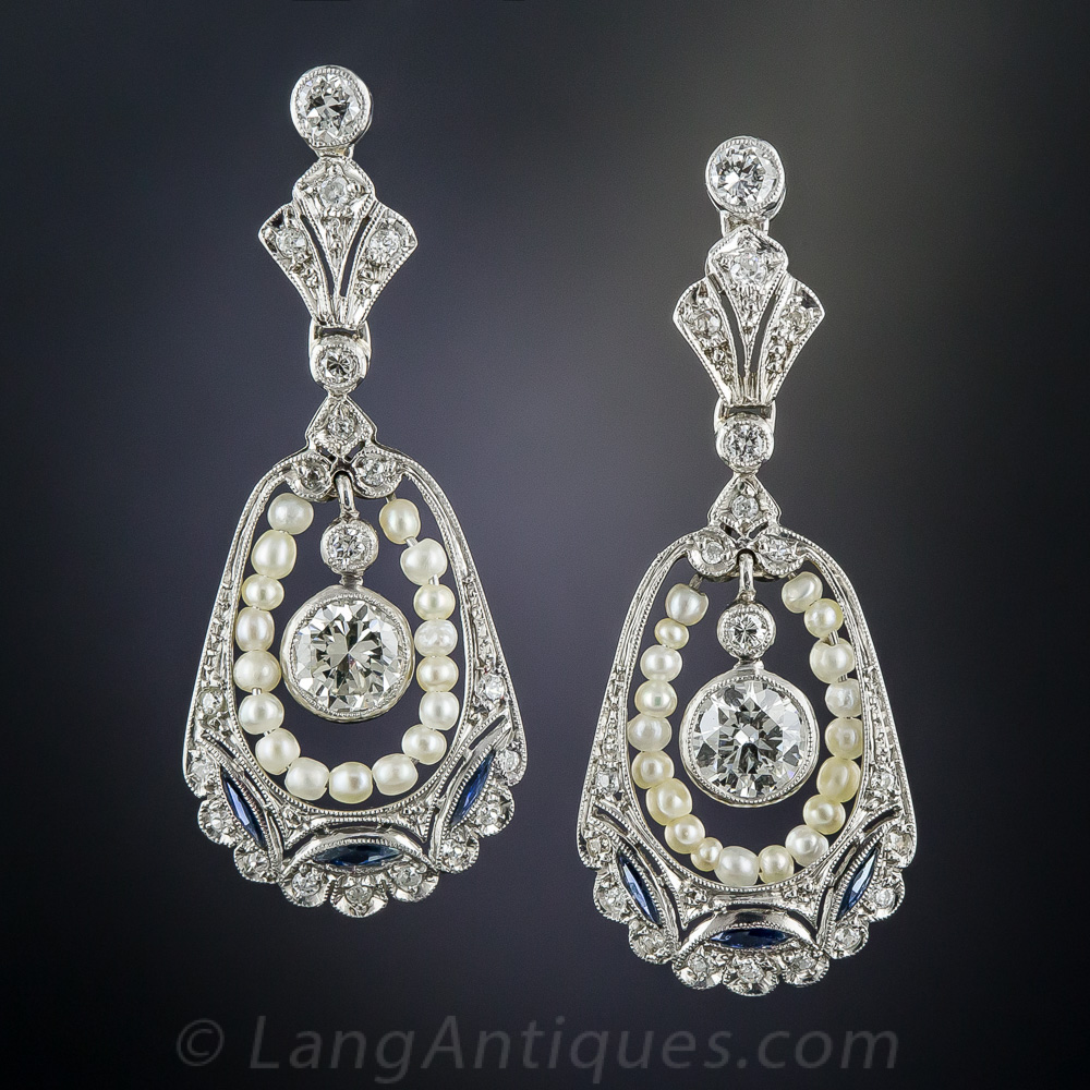 Vintage Style Diamond Pearl And Sapphire Drop Earrings