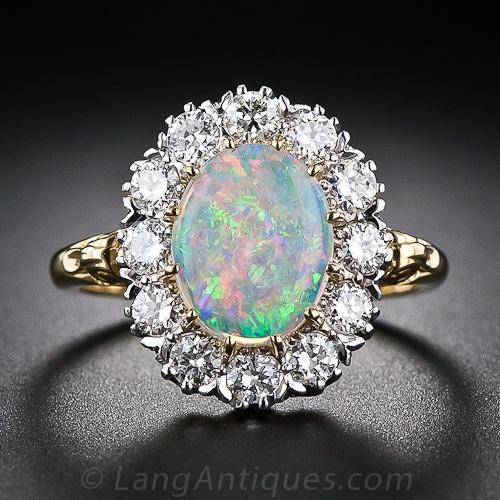 Vintage Style Opal And Diamond Halo Ring