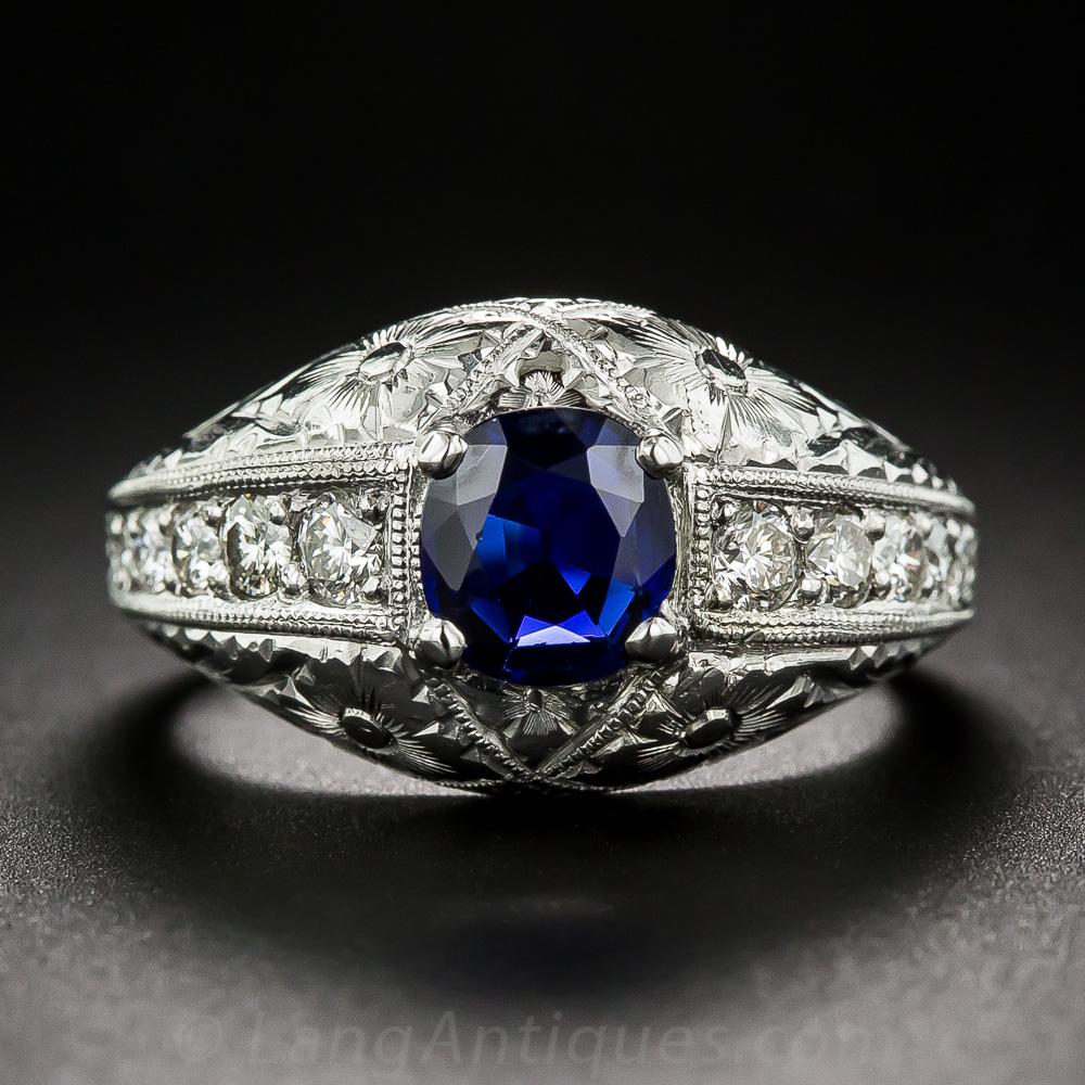 Vintage Style Sapphire Platinum And Diamond Ring