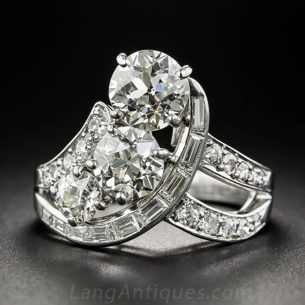 Vintage Three Stone Platinum Diamond Ring