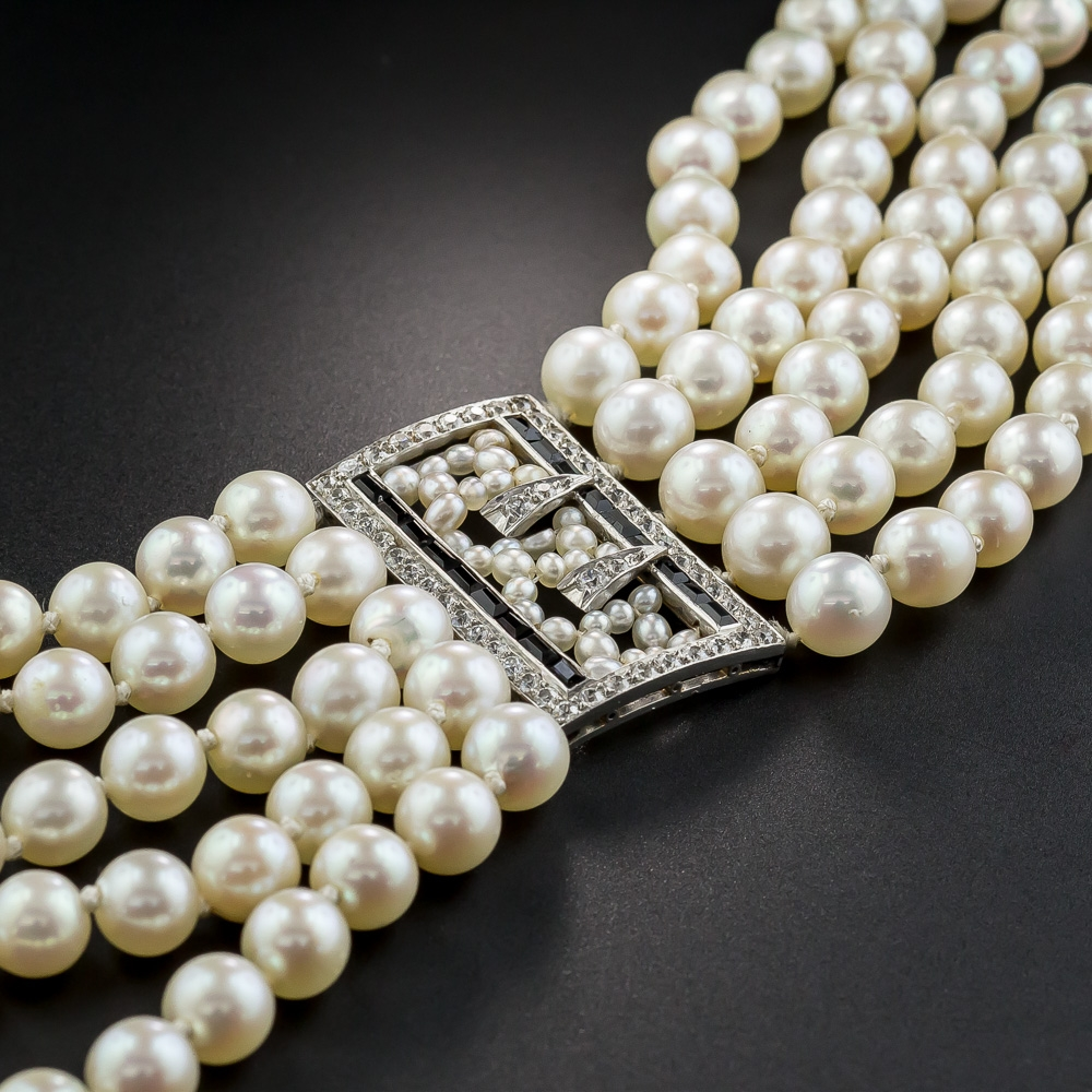 Vintage Tiffany Amp Co Pearl And Diamond Bracelet
