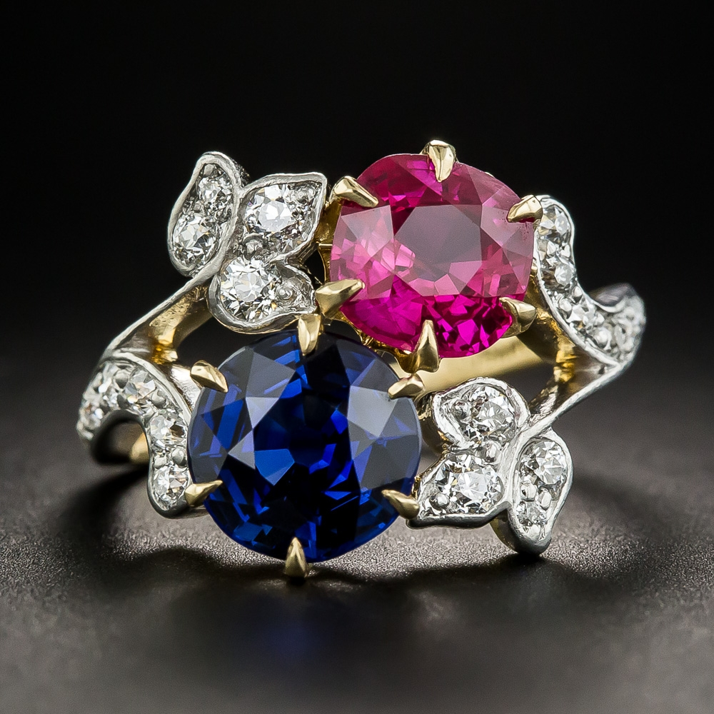 Wedding Ring Bands >> Edwardian Tiffany & Co. Ruby and Sapphire Ring