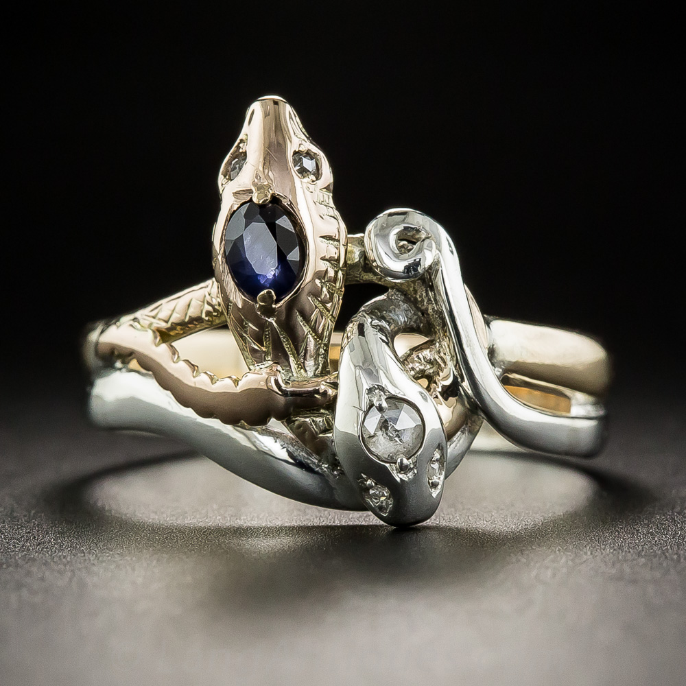 Vintage Two Tone Sapphire And Diamond Twin Snake Ring