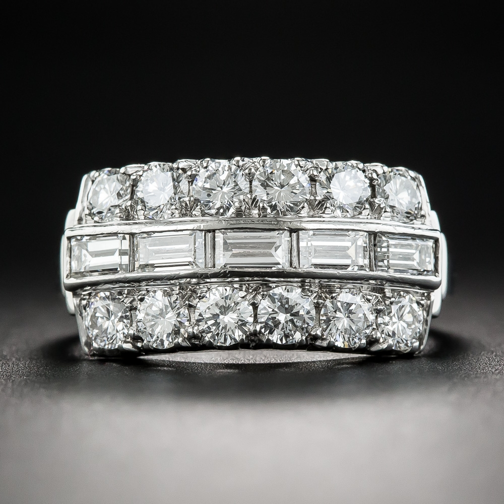 Wide Platinum Diamond Band Ring
