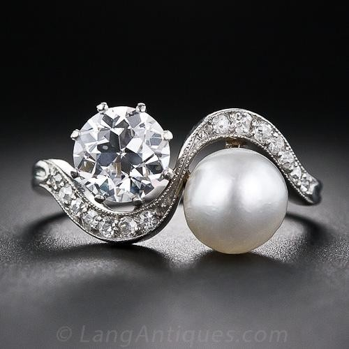 1.08 Carat Diamond and Natural Pearl Edwardian Twin Ring