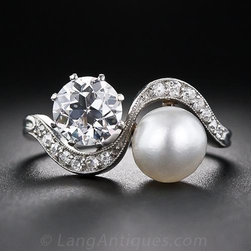1.08 Carat Diamond and Natural Pearl Edwardian Twin Ring