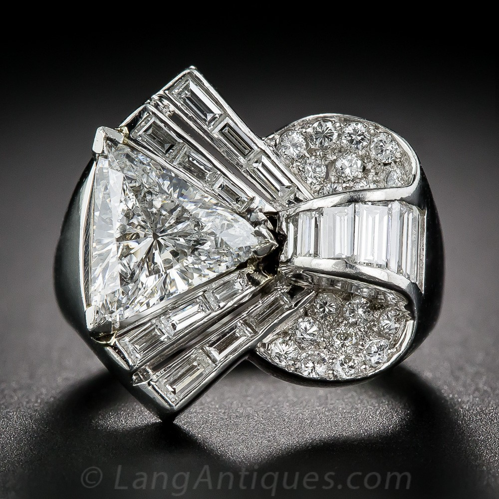 2.10 Carat Center Deco/Retro Diamond and Platinum Cocktail Ring