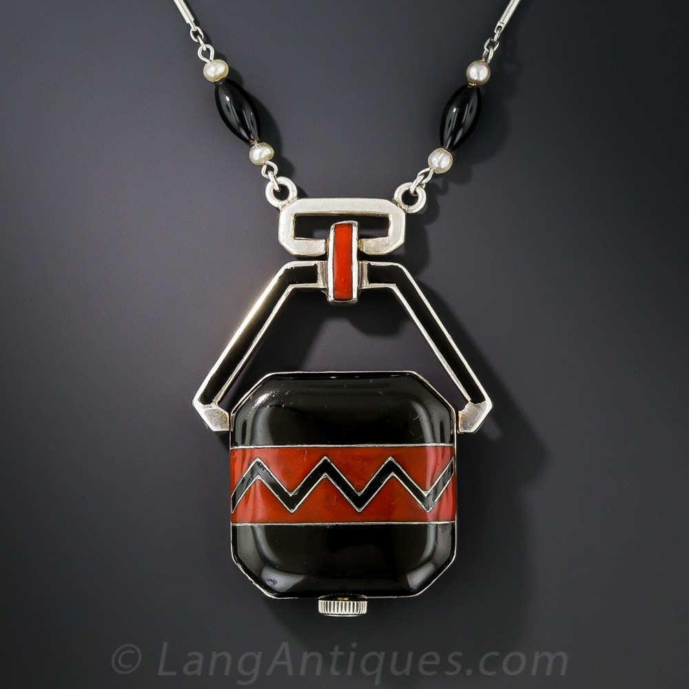 Art Deco Black and Red Enameled Watch Pendant Necklace
