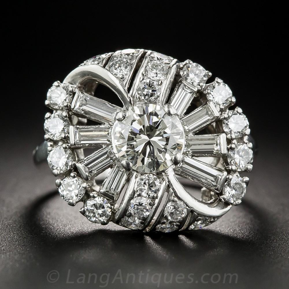 Mid-Century Diamond and Platinum Cocktail Ring