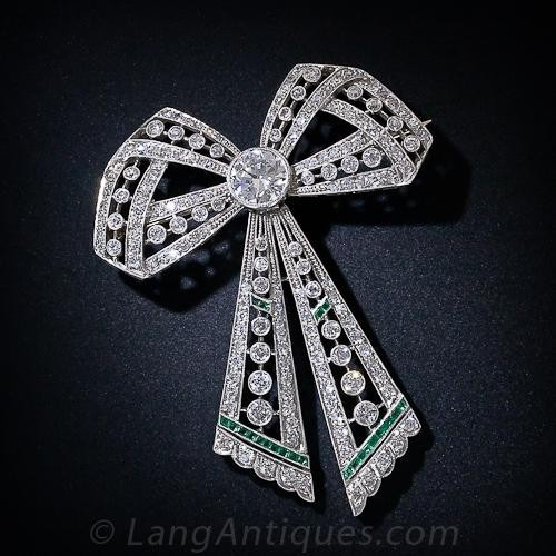 Edwardian Diamond and Emerald Bow Brooch