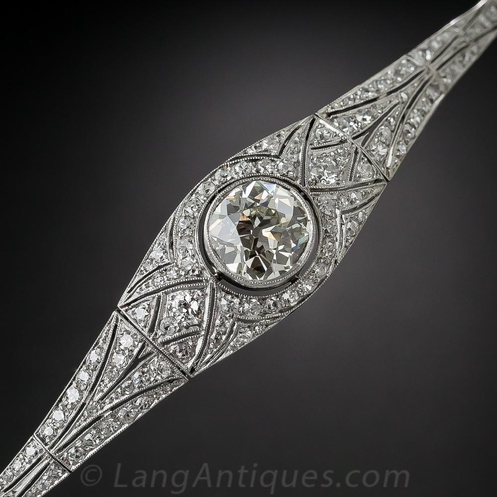 Edwardian/Early Art Deco Platinum and Diamond Bracelet