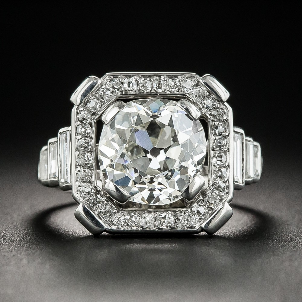 French Art Deco Diamond and Platinum Ring