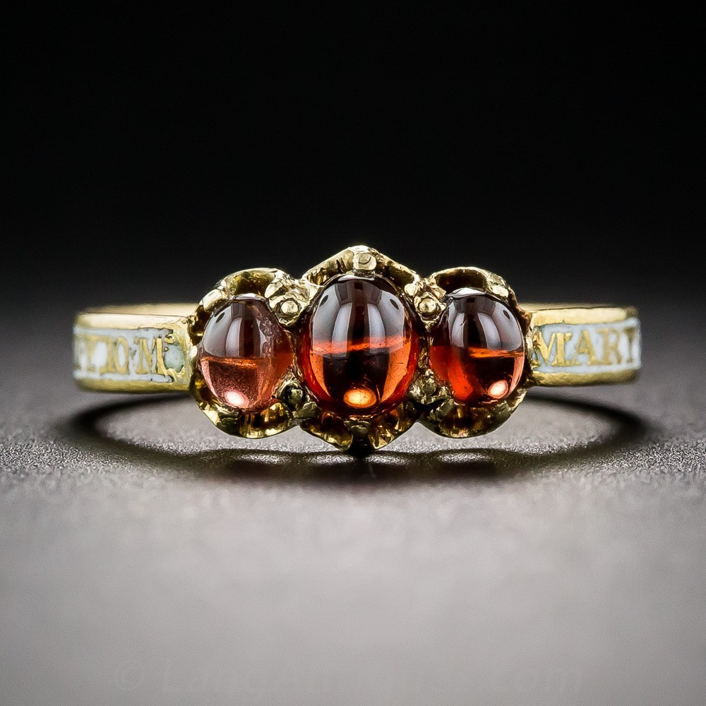 Georgian Garnet and Enamel Mourning Ring