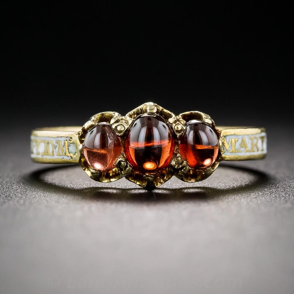 Georgian Garnet and Enamel Mourning Ring
