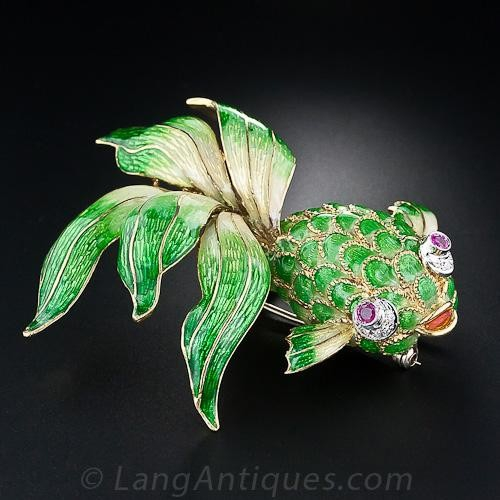 Italian Green Enamel Fish Brooch