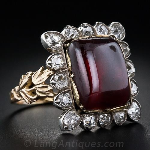 Large Antique Garnet and Diamond Ring