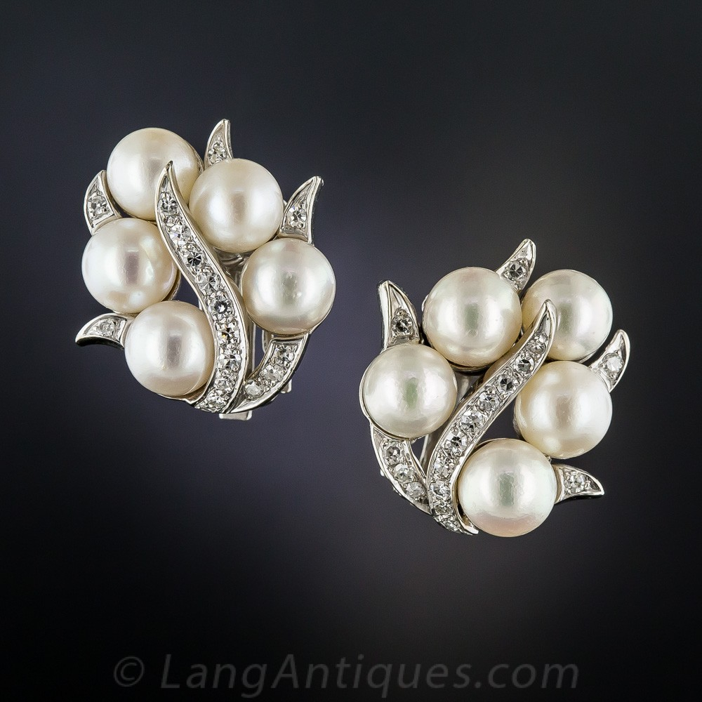 Mid-Century Cultured Pearl and Diamond Clip Earrings