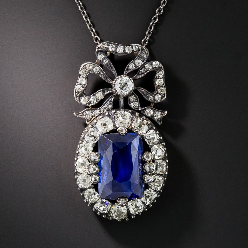 Victorian Ceylon Sapphire and Diamond Necklace