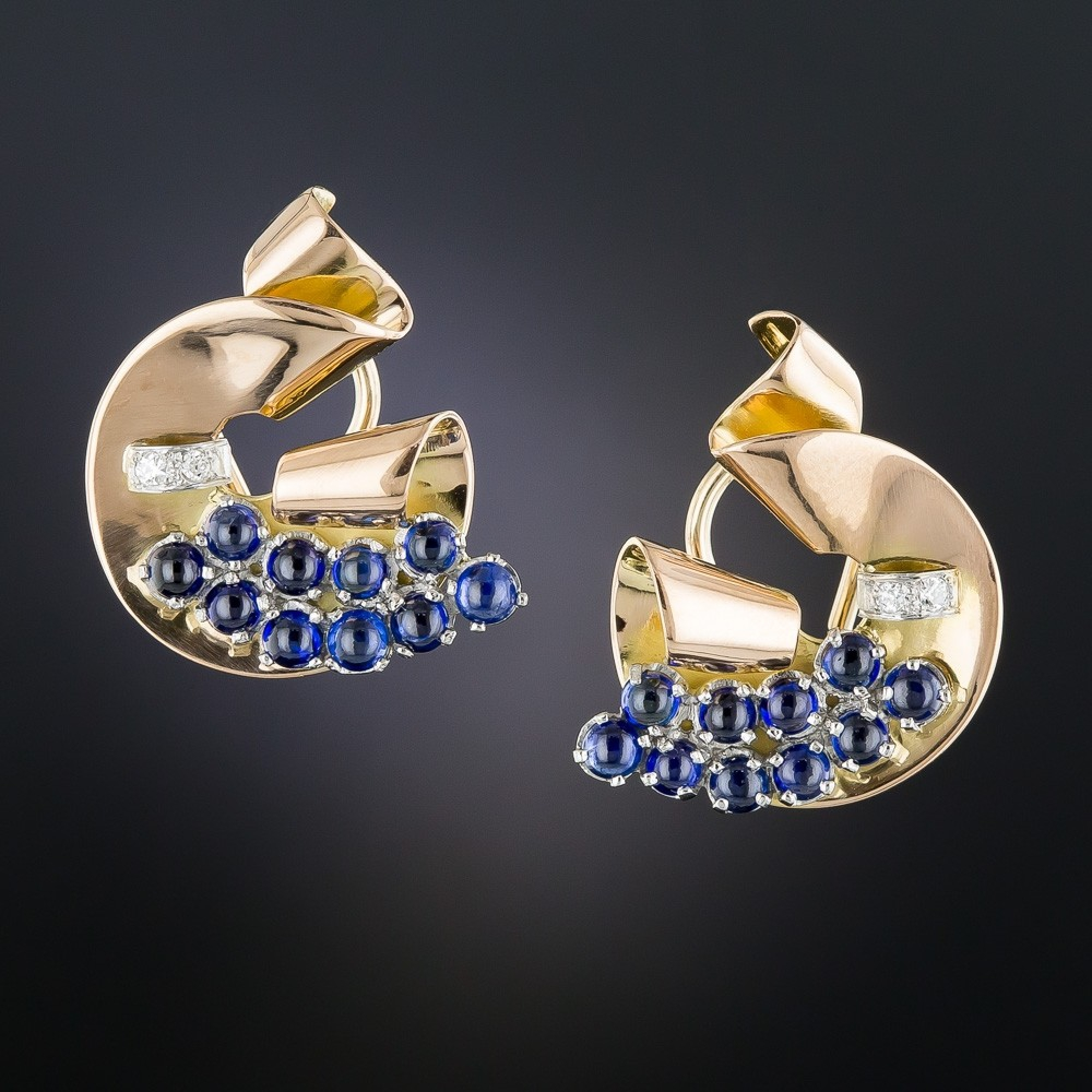 Retro Sapphire and Diamond Earrings