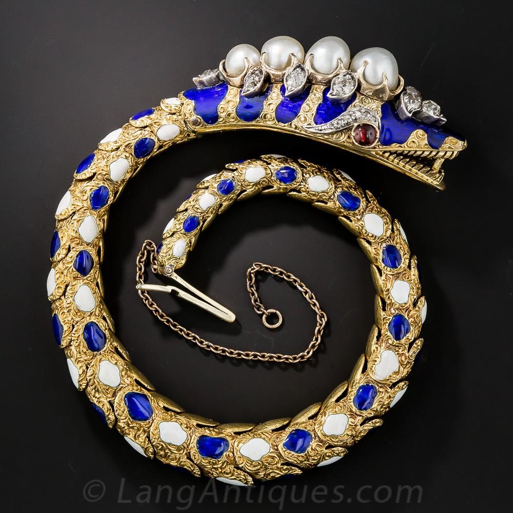 Victorian Enamel, Diamond, and Natural Pearl Snake Bracelet