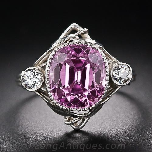 7.40 Carat Arts & Crafts Pink Sapphire Ring in Platinum