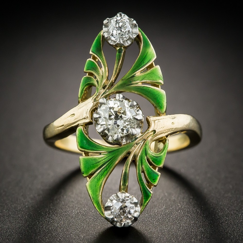 Art Nouveau Diamond and Enamel Ring
