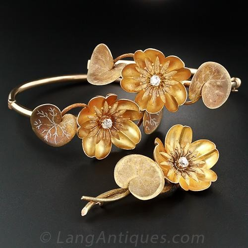 Art Nouveau Gold and Diamond Water Lily Bracelets and Brooch