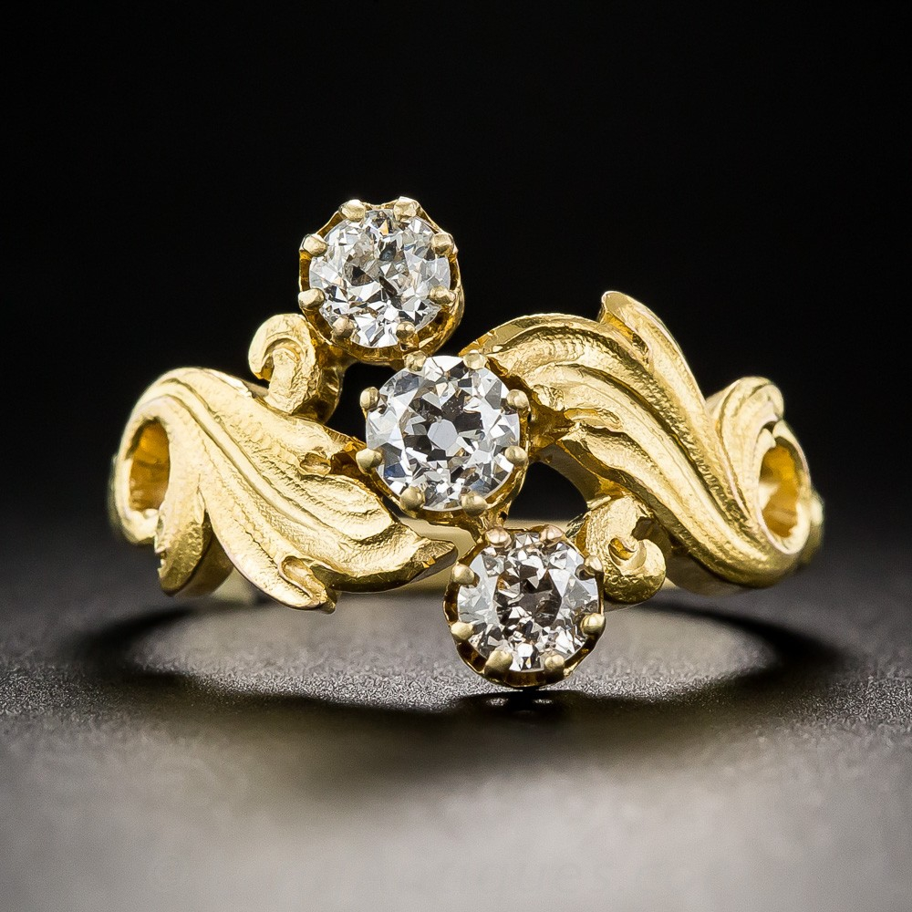 Art Nouveau Three-Stone Diamond Ring