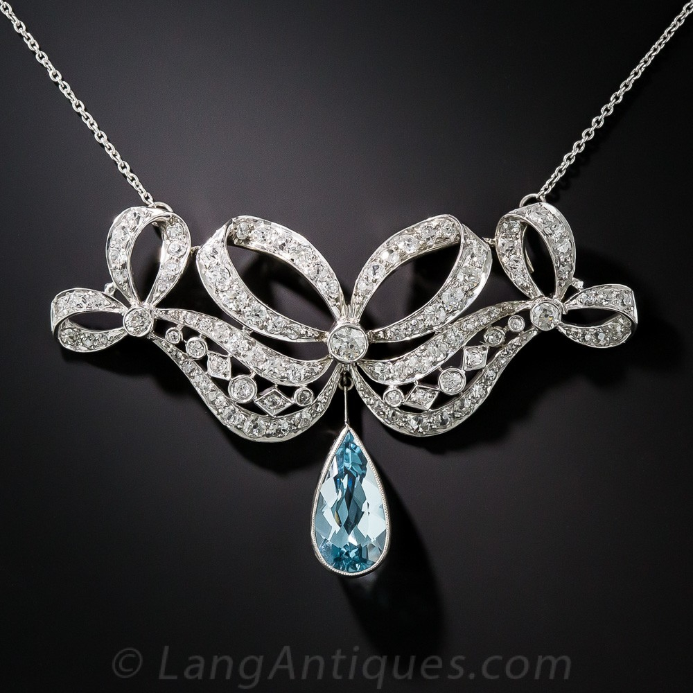 Edwardian Aquamarine and Diamond Necklace