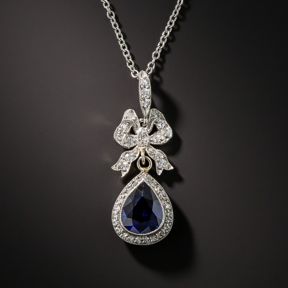 Edwardian Sapphire and Diamond Drop Pendant