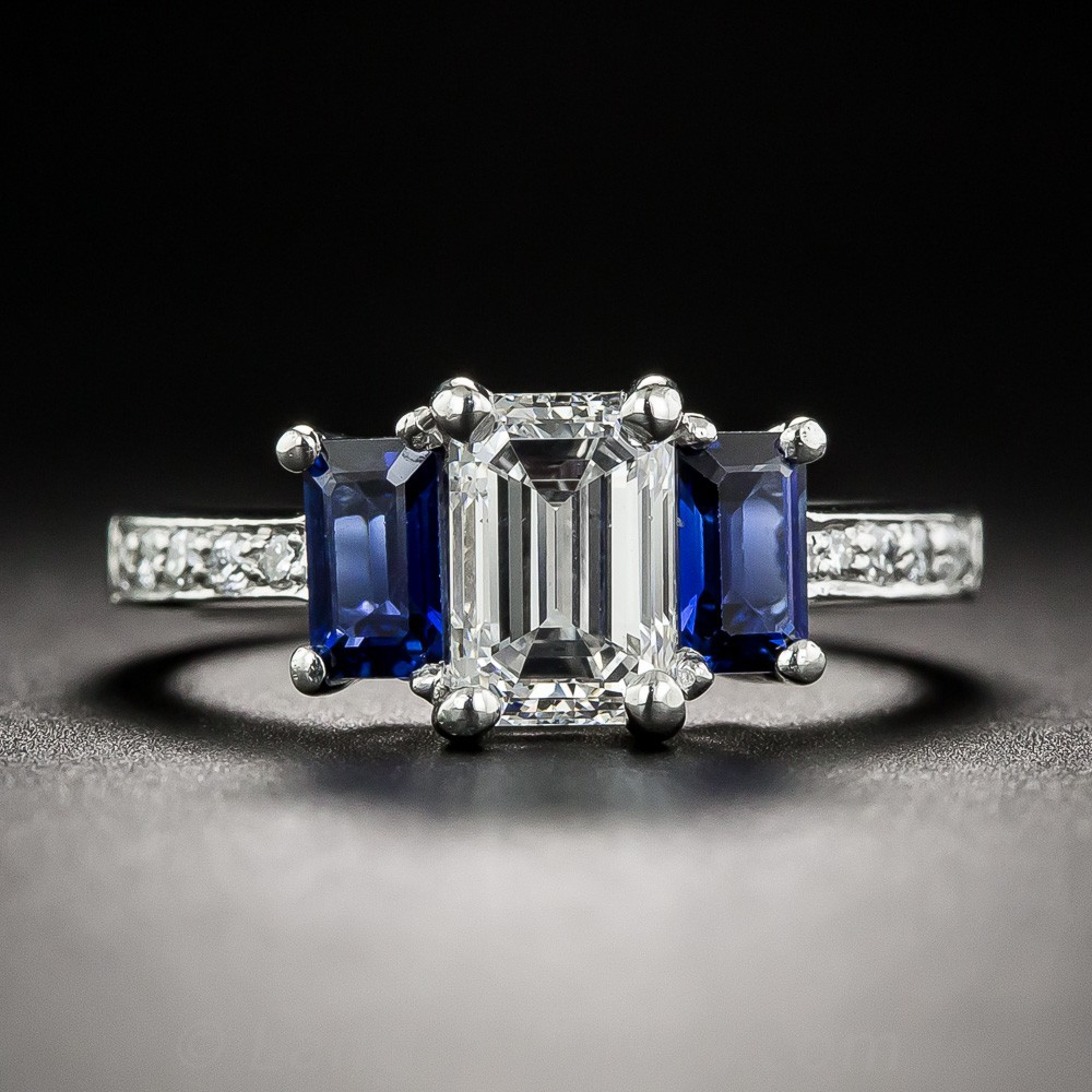 1.08 Carat Emerald-Cut Diamond and Sapphire Three-Stone Ring