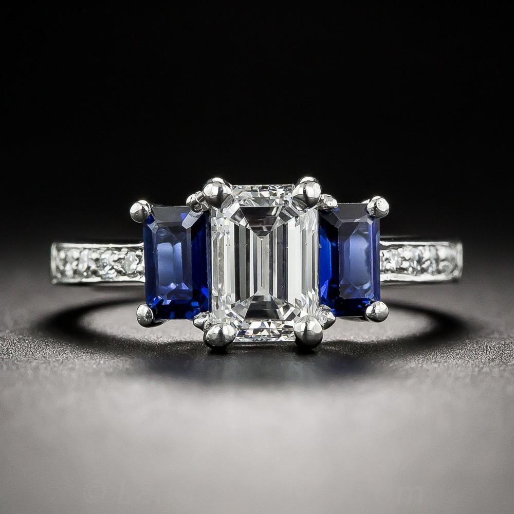 1.08 Carat Emerald-Cut Diamond and Sapphire Three-Stone Ring