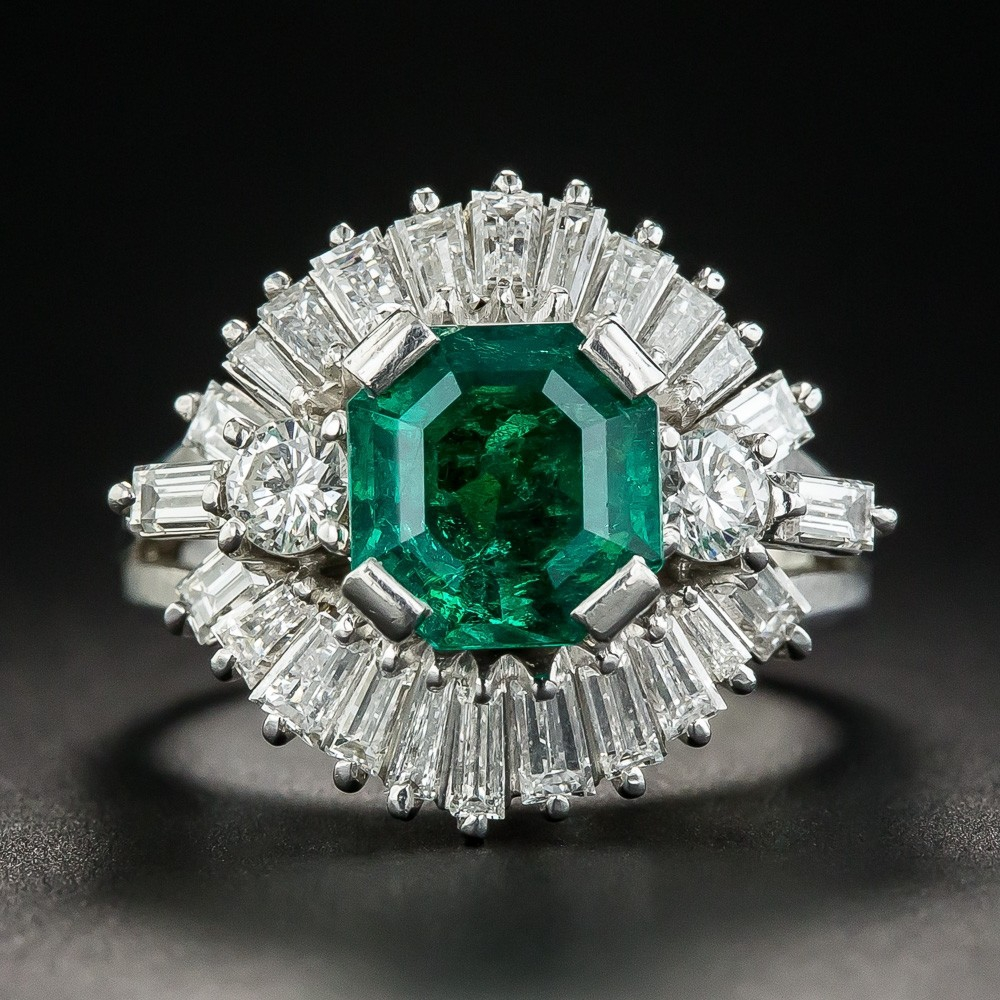 1.68 Carat Emerald Diamond Platinum Ring