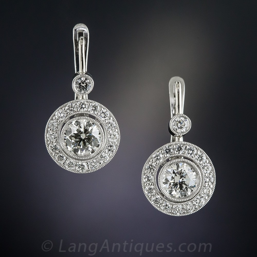 2.00 Carat Diamond and Platinum Halo Drop Earrings