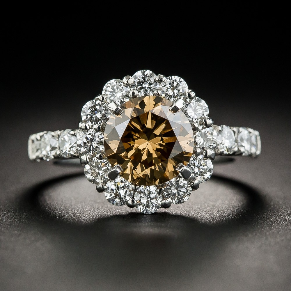 Natural Fancy Dark Yellowish Brown Diamond Ring