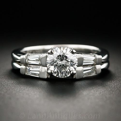 .91 Carat Platinum and Diamond Wedding Set