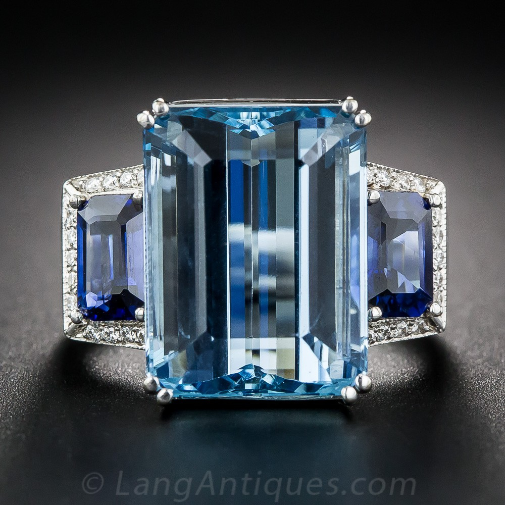 Fine Aquamarine, Sapphire, and Diamond Ring
