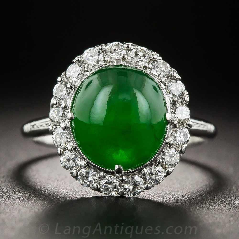 Gemmy Natural Jade and Diamond Ring