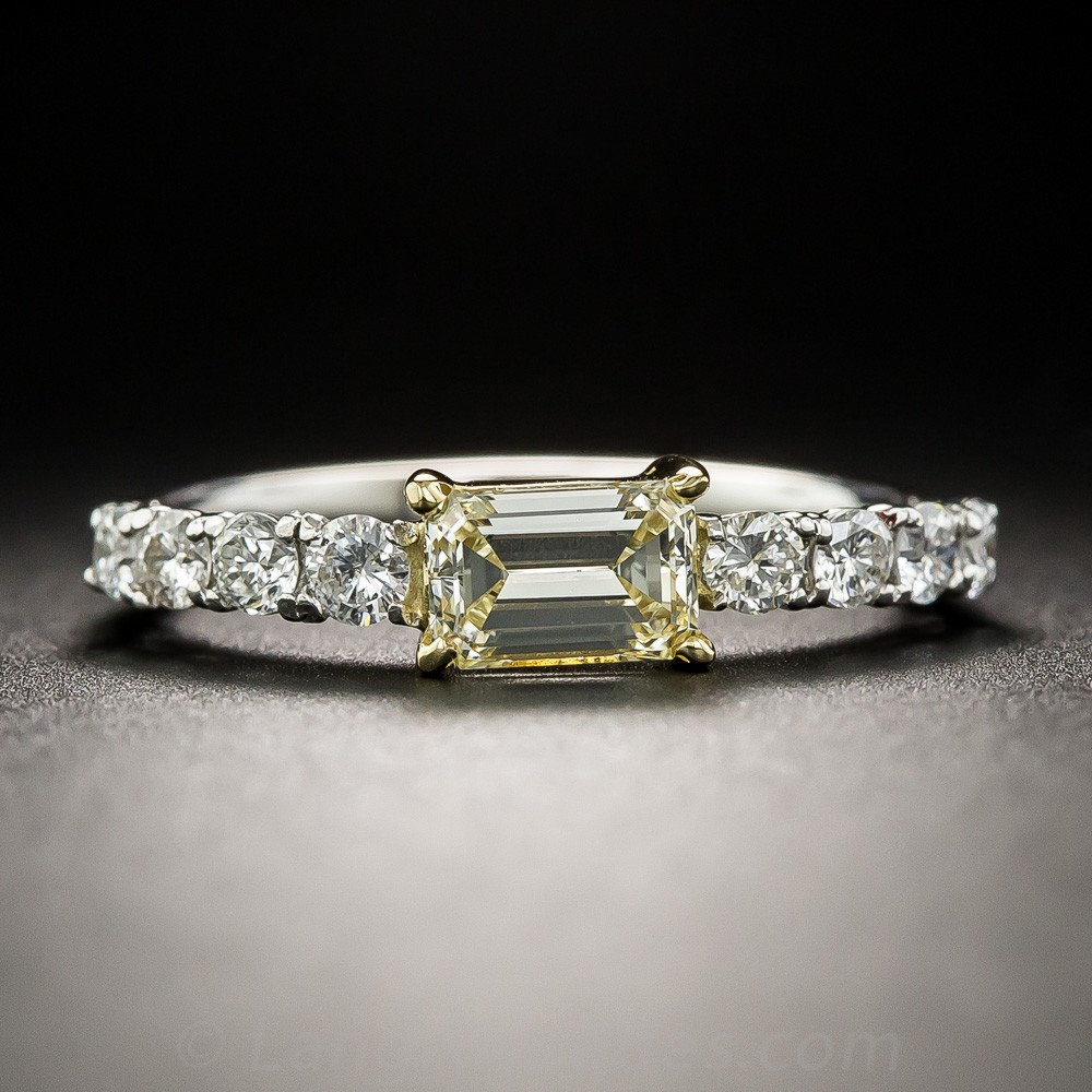 Natural Fancy Light Yellow Emerald-Cut Diamond, Platinum, and 18K Gold Ring