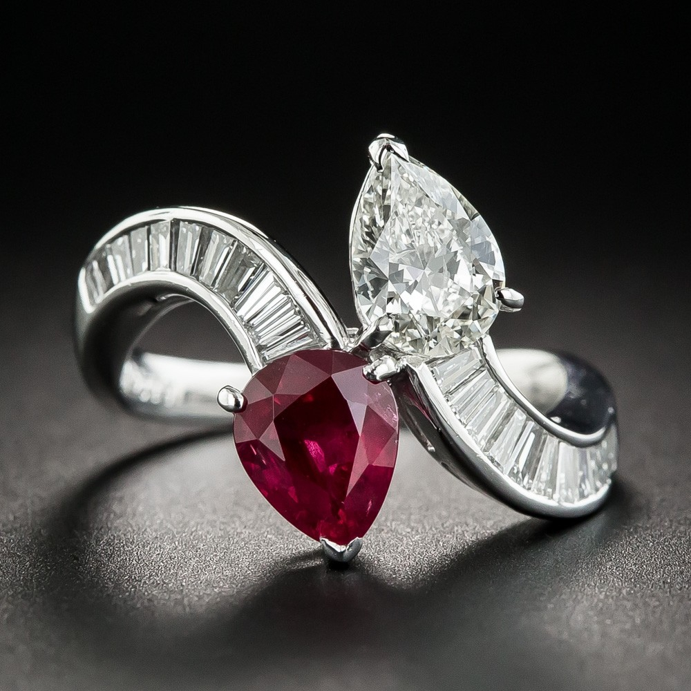 Platinum Pear Shape Ruby and Diamond Bypass Ring