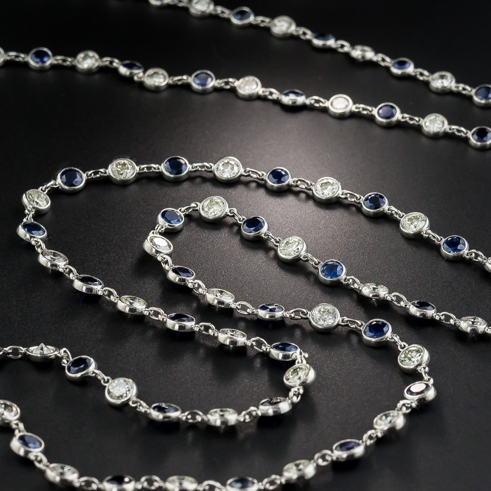 Sapphire and Diamonds 'By-The-Yard' Long Platinum Chain Necklace