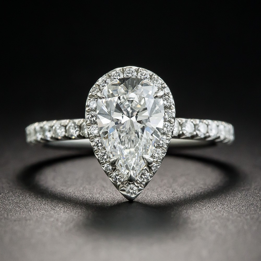 Tiffany & Co. 1.34 Carat Pear Shape Diamond Halo Ring