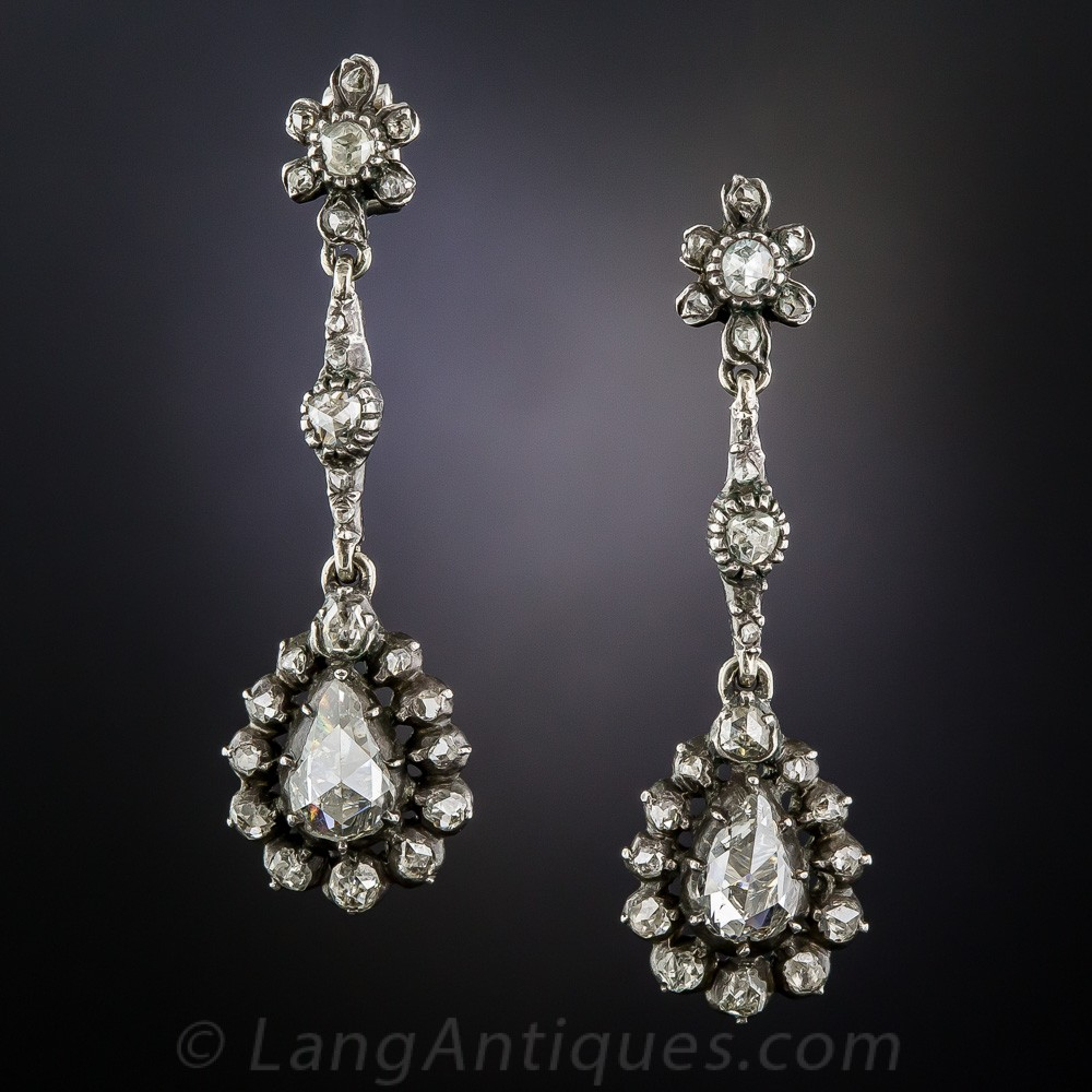 Georgian Rose-Cut Diamond Earrings