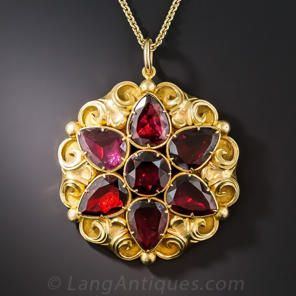 Large Georgian Garnet Pendant