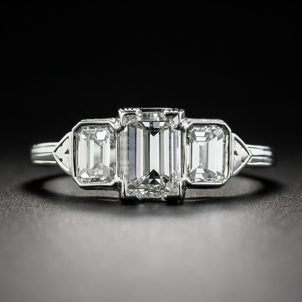 1.06 Carat Emerald-Cut Diamond Three-Stone Ring