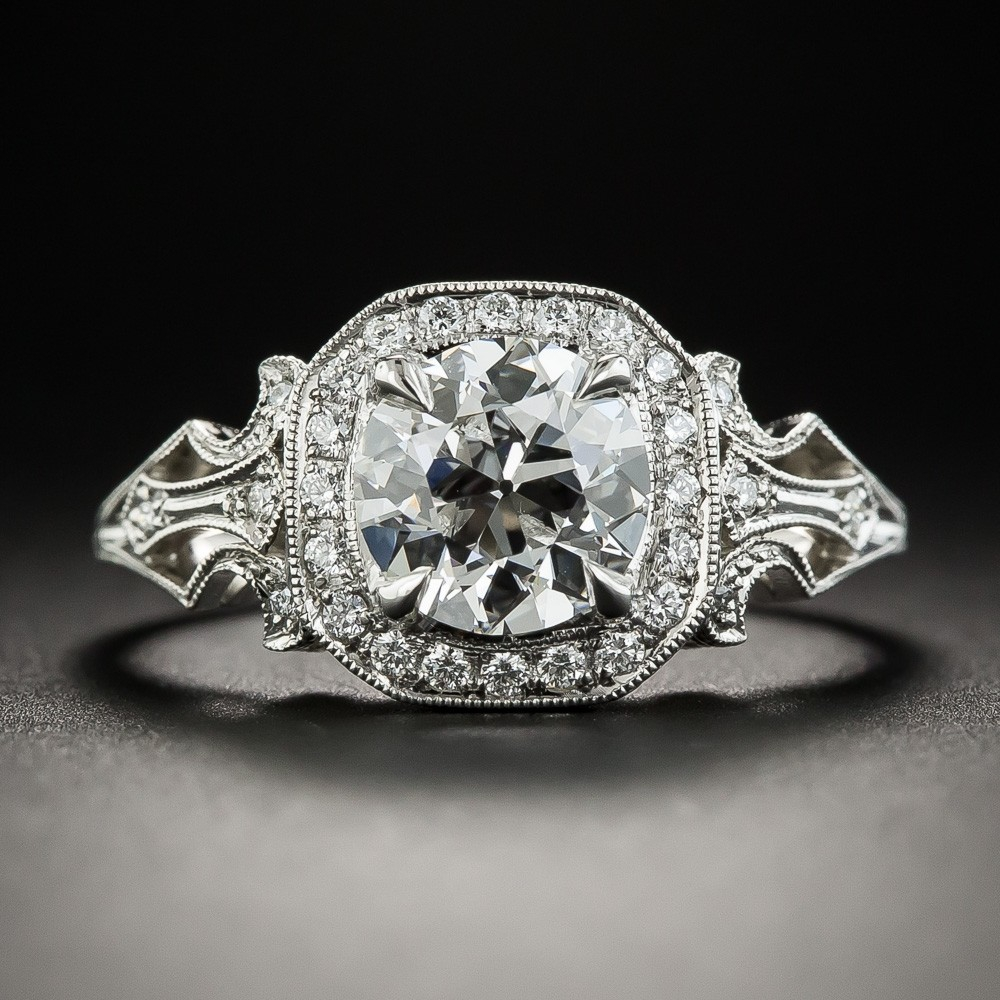 1.27 Carat European-Cut Diamond and Platinum Engagement Ring